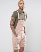 Asos Short Denim Overalls In Pink With Mega Rips