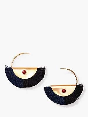 Nectar Nectar Silk Thread Tassel Hoop Earrings, Midnight/Gold