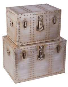 Vintiquewise Industrial Wooden Aluminum Storage Trunk with Lockable Latches, Set Of 2