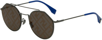 Fendi Men's 54mm FF Logo-Monogram Geometric Metal Sunglasses