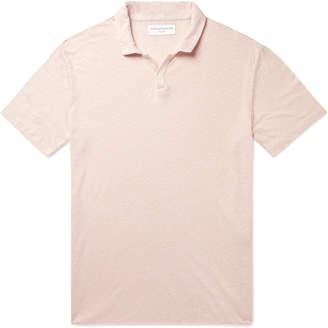Officine Generale Simon Garment-Dyed Slub Linen Polo Shirt