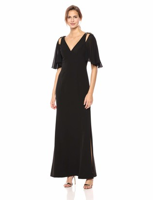 Vince Camuto Women's Crepe V-Neck Gown with Beaded Shoulder Detail