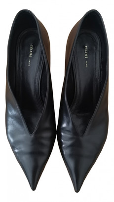 Celine Soft V Neck Black Leather Heels