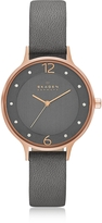 Skagen Anita Rose Goldtone Stainless Steel Women's Watch w/Gray Leather Band