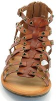 DEV Women's New Studs Straps Caged Roman Gladiator Attractir Flat Sandal Shoes