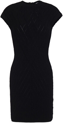 Balmain Pointelle-trimmed Jacquard-knit Mini Dress