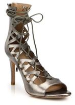 Joie Quinn Metallic Leather Lace-Up Sandals