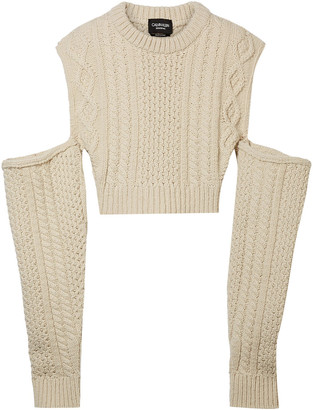 Calvin Klein Cropped Cold-shoulder Cable-knit Wool-blend Sweater