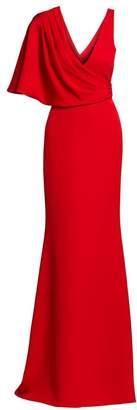 Badgley Mischka Drape Asymmetric Shoulder Stretch Crepe Column Gown