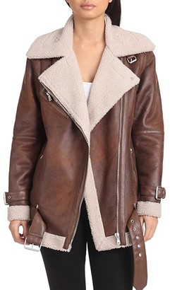 AVEC LES FILLES Oversized Faux Shearling Belted Biker Jacket (Vintage Whiskey) Women's Coat