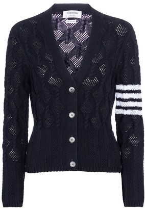 Thom Browne Cable-knit cotton cardigan