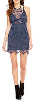Free People Nothing Like This Lace Halter Scalloped Lace Mini Dress