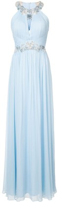 Marchesa floral-sequined pleated gown