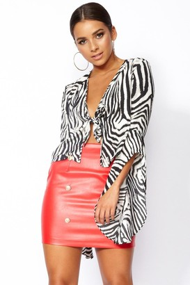 Outrageous Fortune Zak Animal Print Tie Front Top