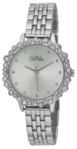 Bob Mackie Women's Silver-Tone Alloy Bracelet Crystal Bezel Watch, 31mm