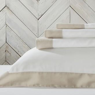 The White Company Portobello Linen Flat Sheet, White Natural, Single