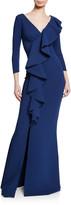 Chiara Boni Janka V-Neck 3/4-Sleeve Asymmetric Ruffle Mermaid Gown w/ Slit