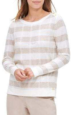 Calvin Klein Striped Buttoned-Shoulder Pullover