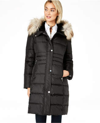 Calvin Klein Box Quilt Faux-Fur Hooded Puffer Coat