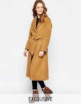 Helene Berman Button Down Belted Coat In Camel