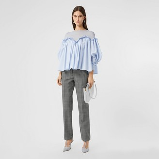 Burberry Puff-sleeve Striped Cotton and Jersey Blouse