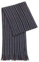 HUGO BOSS Striped Wool Scarf C-Fandano One Size Red