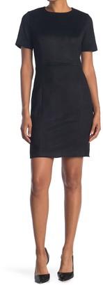 T Tahari Faux Suede Sheath Dress
