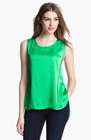 Vince Camuto Seamed High/Low Tank Grass Green X-Large