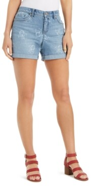 Style&Co. Style & Co Gossamer-Print Boyfriend Shorts, Created for Macy's
