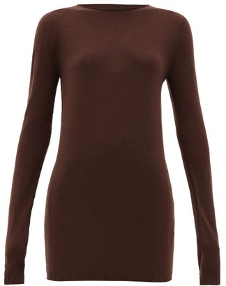 Rick Owens Raw Boat-neck Wool Sweater - Womens - Brown