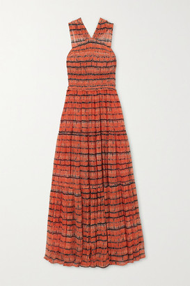 Ulla Johnson Freesia Open-back Tie-dyed Silk-georgette Maxi Dress - Orange