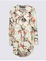 M&S Collection Floral Print Notch Neck Long Sleeve Tunic
