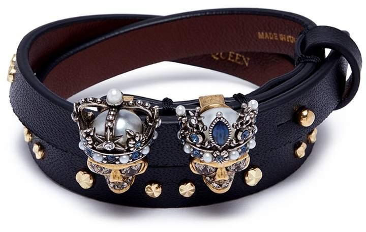 Alexander McQueen 'Queen and King' Swarovski crystal skull leather bracelet