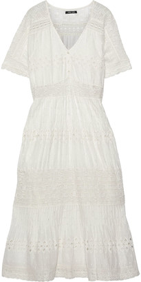 Love Sam Diamond Embroidery Lace-trimmed Swiss-dot Cotton Midi Dress