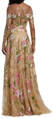 Naeem Khan Embroidered Floral Tulle Gown