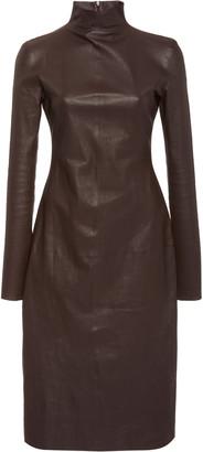 Bottega Veneta Mock Neck Leather Dress