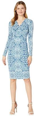 Maggy London Placed Paisley Jersey Sheath (Sapphire/Sea) Women's Dress
