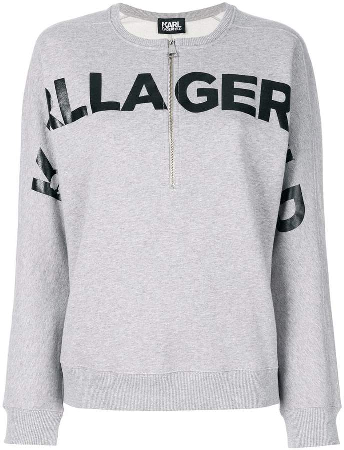 Karl Lagerfeld logo print zip sweatshirt
