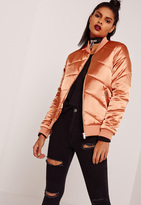 Missguided Satin Quilted Bomber Jacket Orange