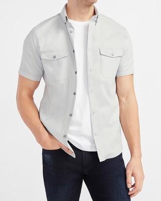 Express Slim Heathered Wrinkle-Resistant Performance Short Sleeve Shirt