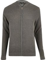 River Island Mens Grey textured knit bomber jacket