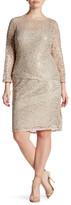 Marina Scalloped Lace Sequin Sheath Dress (Plus Size)