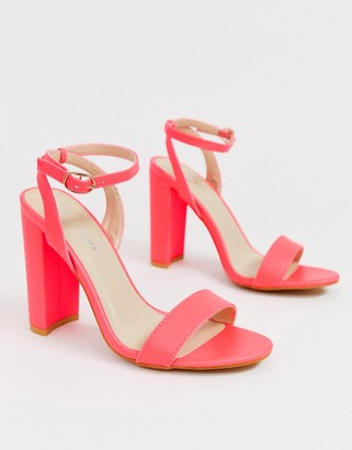 Glamorous neon pink barely there block heeled sandals