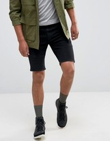 Asos Denim Shorts In Skinny with Biker Details In Washed Black