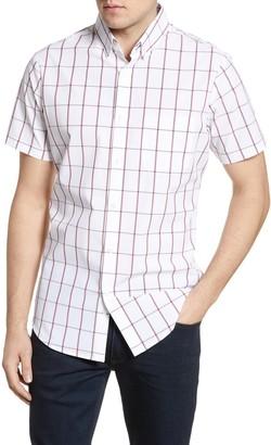 Mizzen+Main South Point Trim Fit Check Short Sleeve Button-Down Performance Shirt