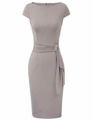 GRACE KARIN Summer Slim Fit Midi Bodycon Dress Black 1950s Rockabilly Drape Decorated Drama Show Vintage Dress CL11027-1 M
