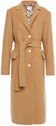 Sandro Belted Brushed Wool-blend Felt Coat