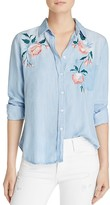 Rails Chandler Floral-Embroidered Chambray Shirt
