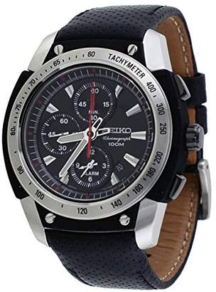 Seiko Men's SNAD47P2 Stainless Steel Case Black Leather Strap Alarm Chronograph Watch