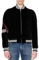 Maison Margiela Logo-Patch Velvet Bomber Jacket, Black